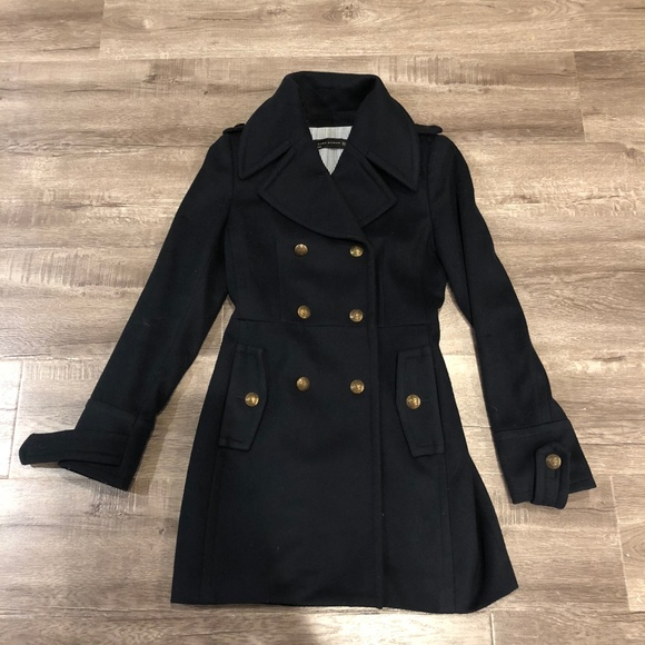 Zara Black Military Wool Coat With Gold Buttons